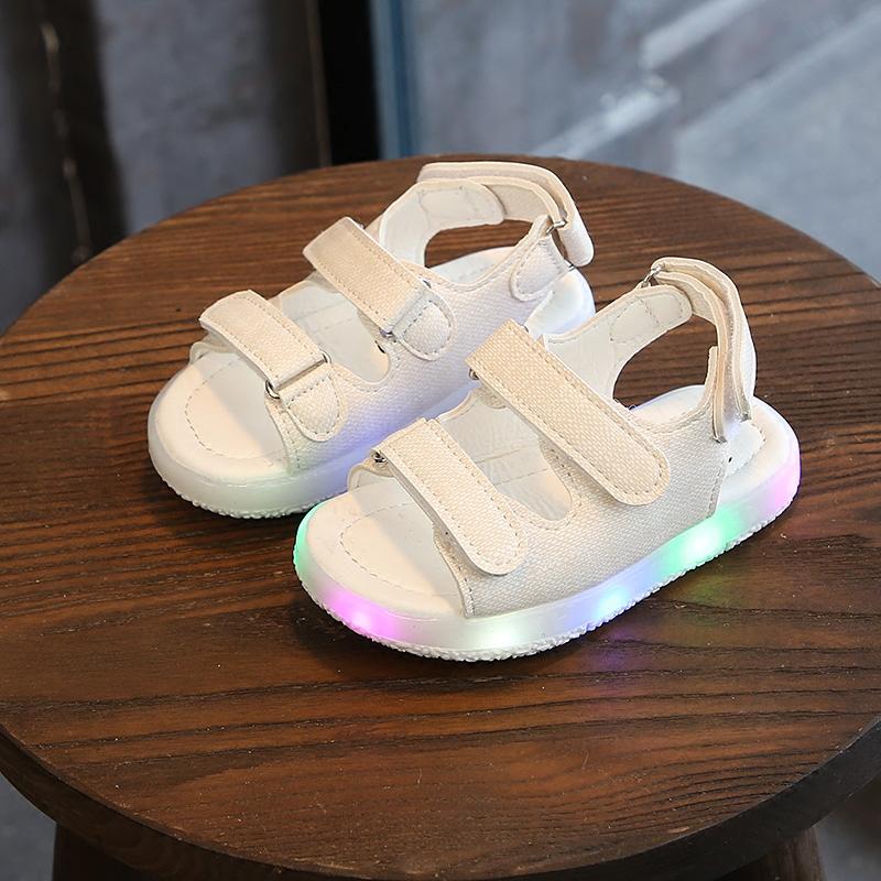 女童凉鞋 2018夏季新款凉鞋露趾魔术贴儿童亮灯男童女童鞋软底宝宝鞋沙滩鞋_推荐淘宝好看的儿女童凉鞋