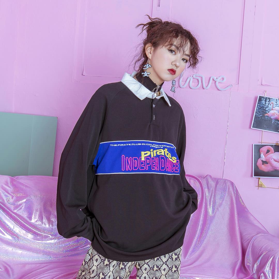紫色卫衣 茉莉夏 港风chic简约拼色翻领上衣个性贴布刺绣字母宽松大码卫衣_推荐淘宝好看的紫色卫衣