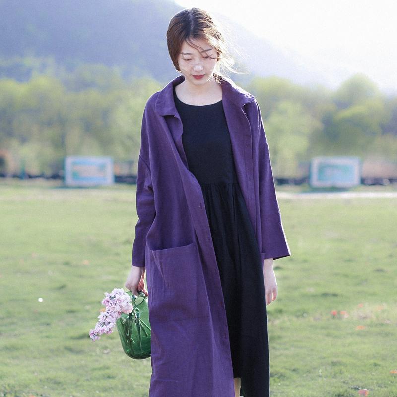 紫色风衣 文艺复古厚实的棉麻中长款外套 彼得潘翻领长袖风衣 C315B_推荐淘宝好看的紫色风衣