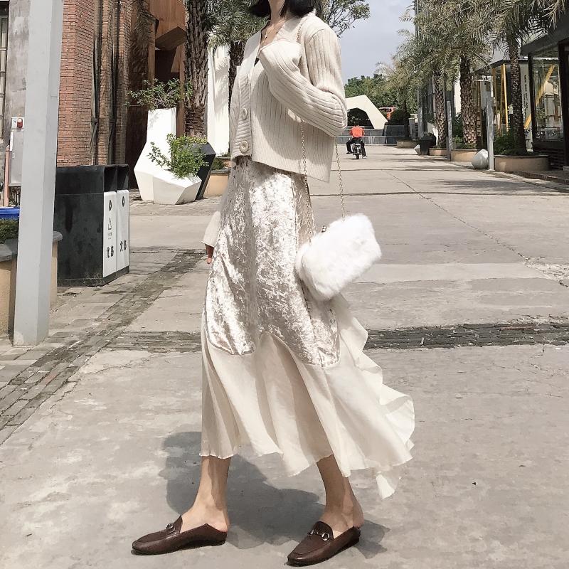黑色半身裙 秋冬新款复古chic风气质百搭丝绒雪纺拼接高腰半身裙中长款鱼尾裙_推荐淘宝好看的黑色半身裙