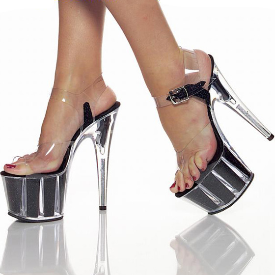 夜店性感高跟鞋 欧美性感女鞋 15cm厘米超高跟凉鞋 露趾细跟水晶鞋 夜店钢管舞鞋_推荐淘宝好看的夜店性感高跟鞋