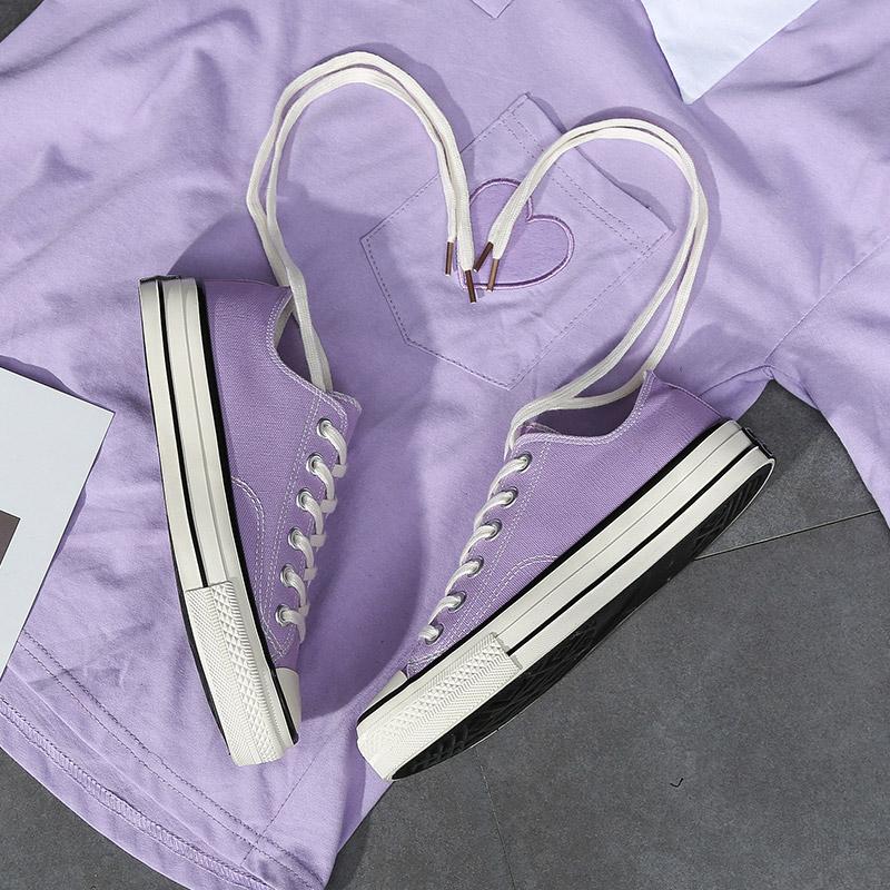 低帮复古板鞋 ins新款1970s浅紫色低帮帆布鞋女韩版学生原宿风ulzzang复古板鞋_推荐淘宝好看的低帮复古板鞋