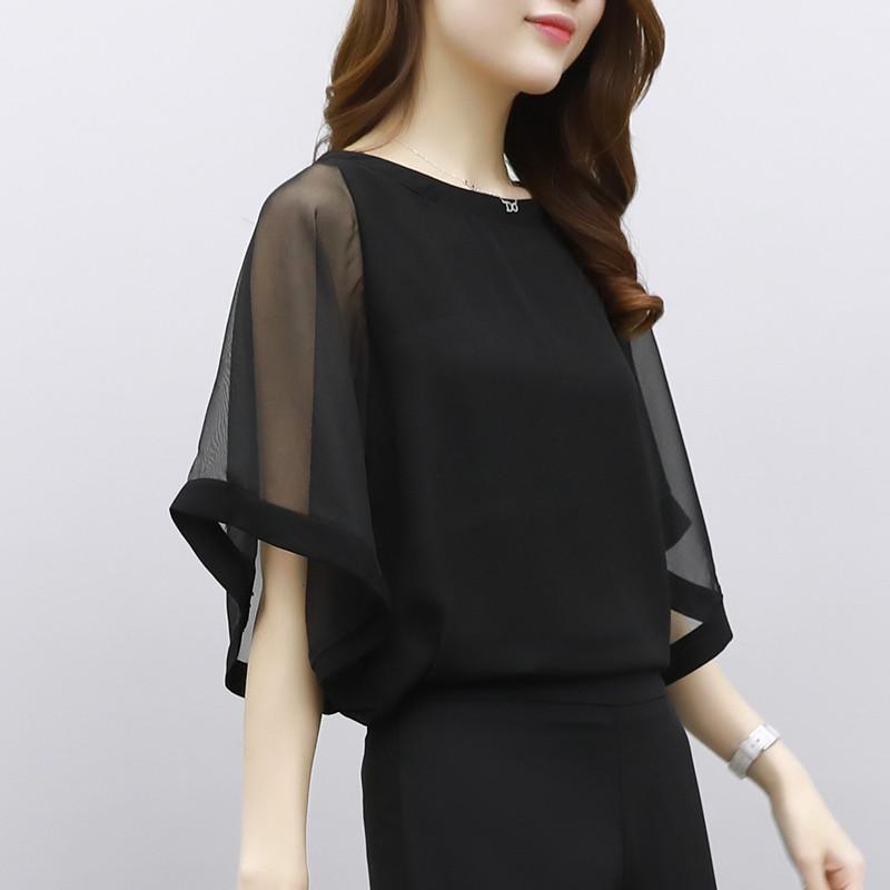 蝙蝠袖雪纺衫 黑色雪纺衫女短袖2018夏装新款韩版女装大码蝙蝠袖宽松上衣女超仙_推荐淘宝好看的蝙蝠袖雪纺衫
