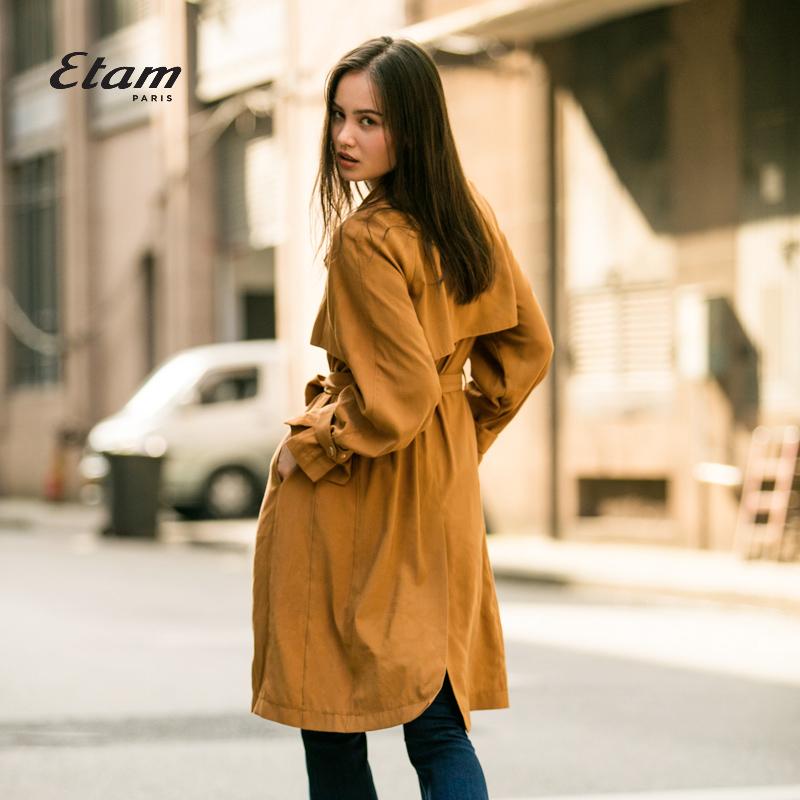 艾格风衣 艾格Etam  时尚纯色修身长袖翻领风衣外套女17013408975_推荐淘宝好看的艾格风衣