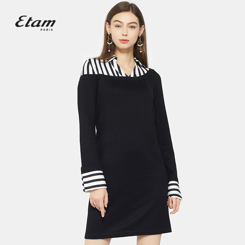 艾格连衣裙 艾格Etam2017秋季条纹纯色拼接假两件连衣裙17012218195_推荐淘宝好看的艾格连衣裙