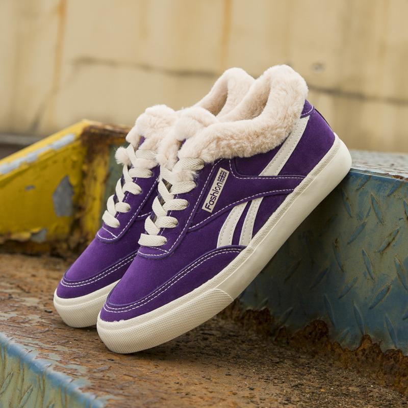 紫色帆布鞋 2018冬季新款帆布鞋女百搭韩版加绒鞋子潮ulzzang紫色板鞋网红鞋_推荐淘宝好看的紫色帆布鞋