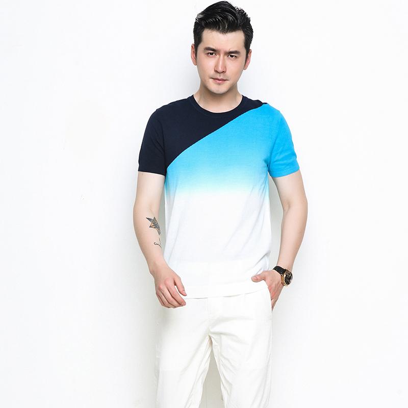 男士针织衫 卡系列品牌折扣男装2018夏季新款短袖色织 时尚 渐变色 针织衫潮_推荐淘宝好看的男针织衫