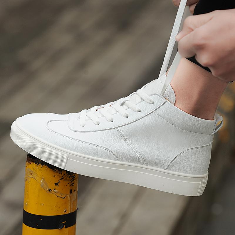 白色高帮鞋 男鞋夏季潮鞋白色高帮鞋男韩版潮流小白鞋男士休闲鞋百搭中帮板鞋_推荐淘宝好看的白色高帮鞋