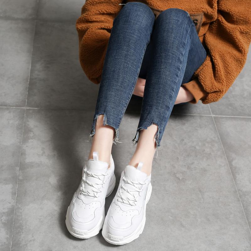 真皮松糕鞋 热典2018春季新款MEMA女松糕厚底运动老爹鞋百搭休闲白色真皮单鞋_推荐淘宝好看的女真皮松糕鞋