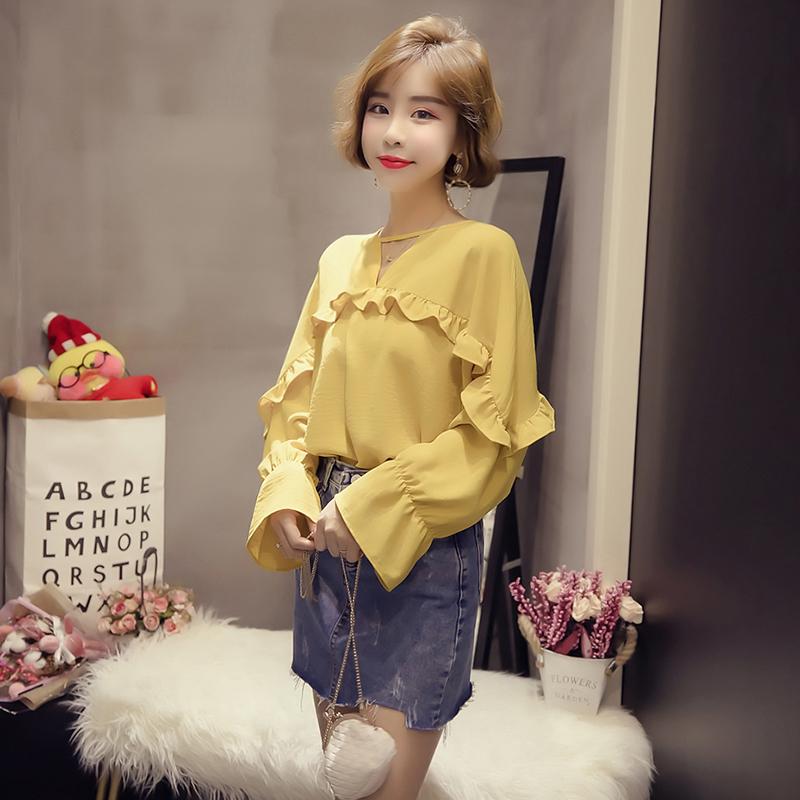 黄色雪纺衫 3.12AM10点上新     纯色套头雪纺衬衫_推荐淘宝好看的黄色雪纺衫