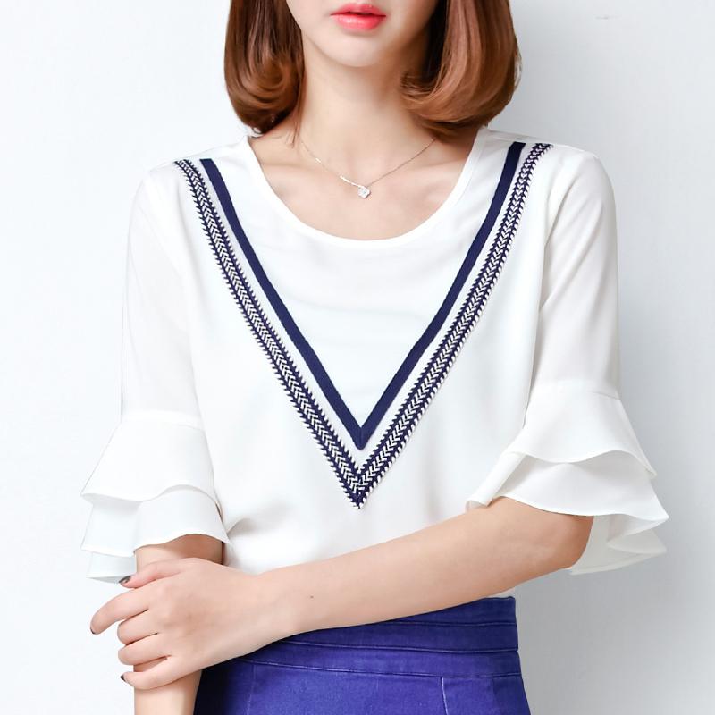 白色雪纺衫 雪纺衫喇叭袖上衣女2017新款小衫韩版宽松大码夏季短袖女装小清新_推荐淘宝好看的白色雪纺衫