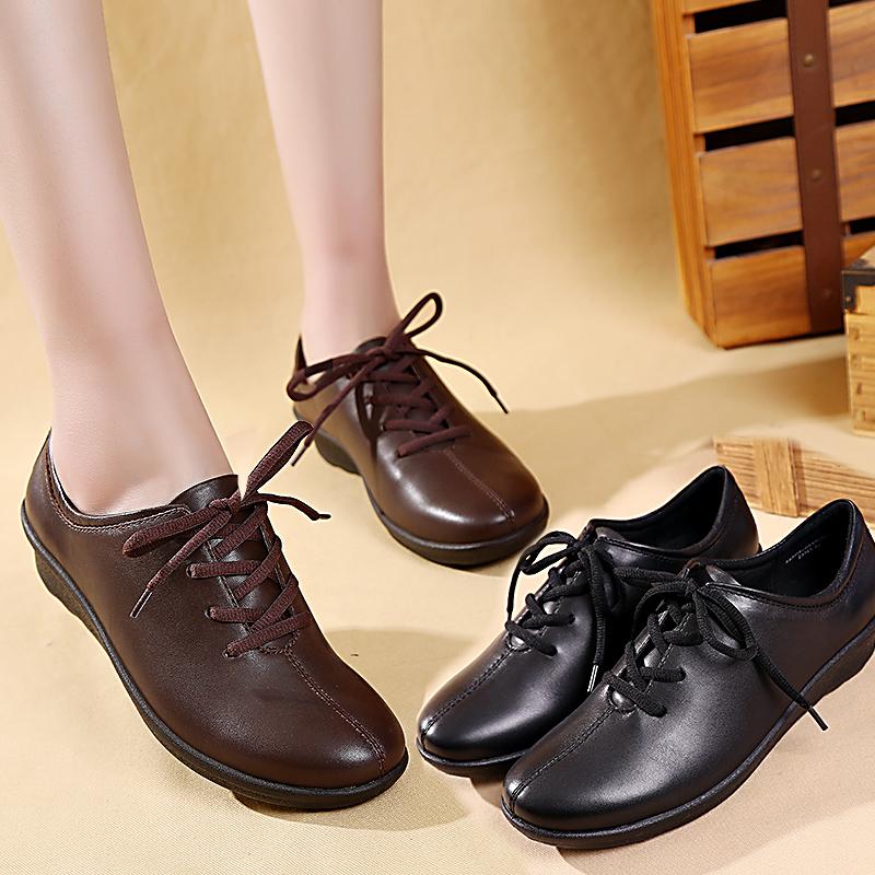 低跟坡跟鞋 春季中老年单鞋女坡跟舒适妈妈鞋真皮女鞋软底皮鞋休闲低跟老人鞋_推荐淘宝好看的低跟坡跟鞋