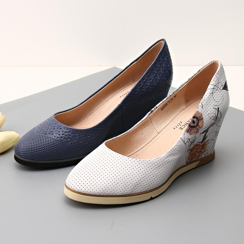 坡跟鱼嘴鞋 欧美新款真皮内增高鞋女头层牛皮坡跟浅口鞋时尚休闲舒适女单鞋_推荐淘宝好看的女坡跟