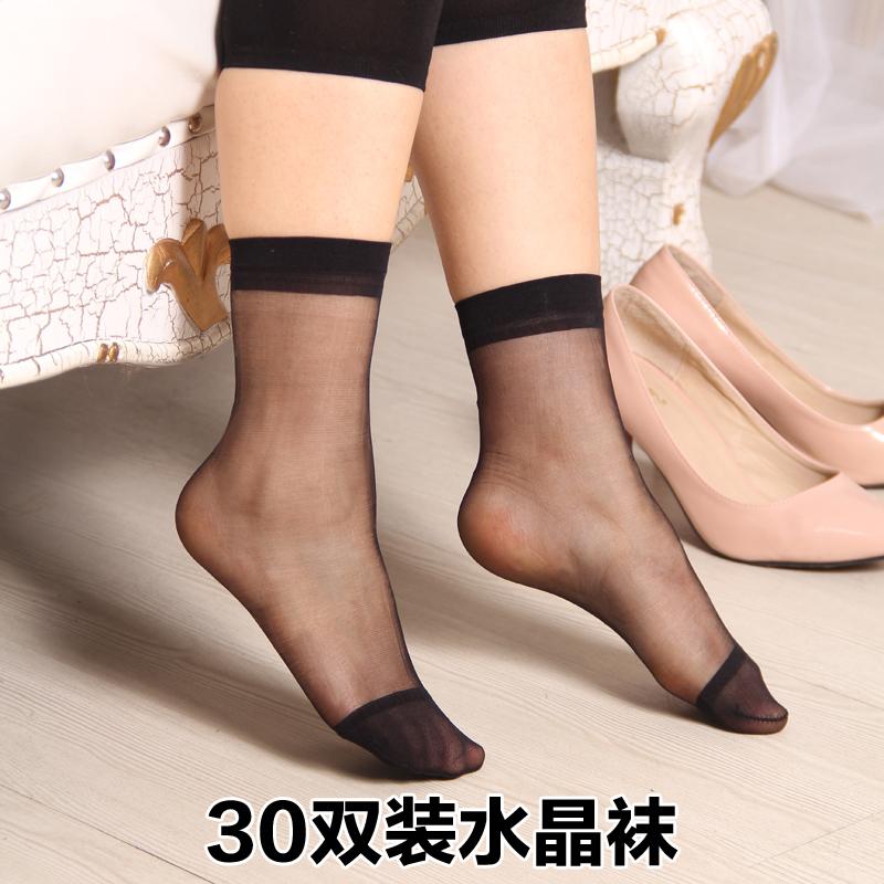 糖果色短丝袜 天天特价 黑色水晶薄丝袜短袜玻璃夏女对对袜糖果色弹力袜短袜子_推荐淘宝好看的糖果色短丝袜