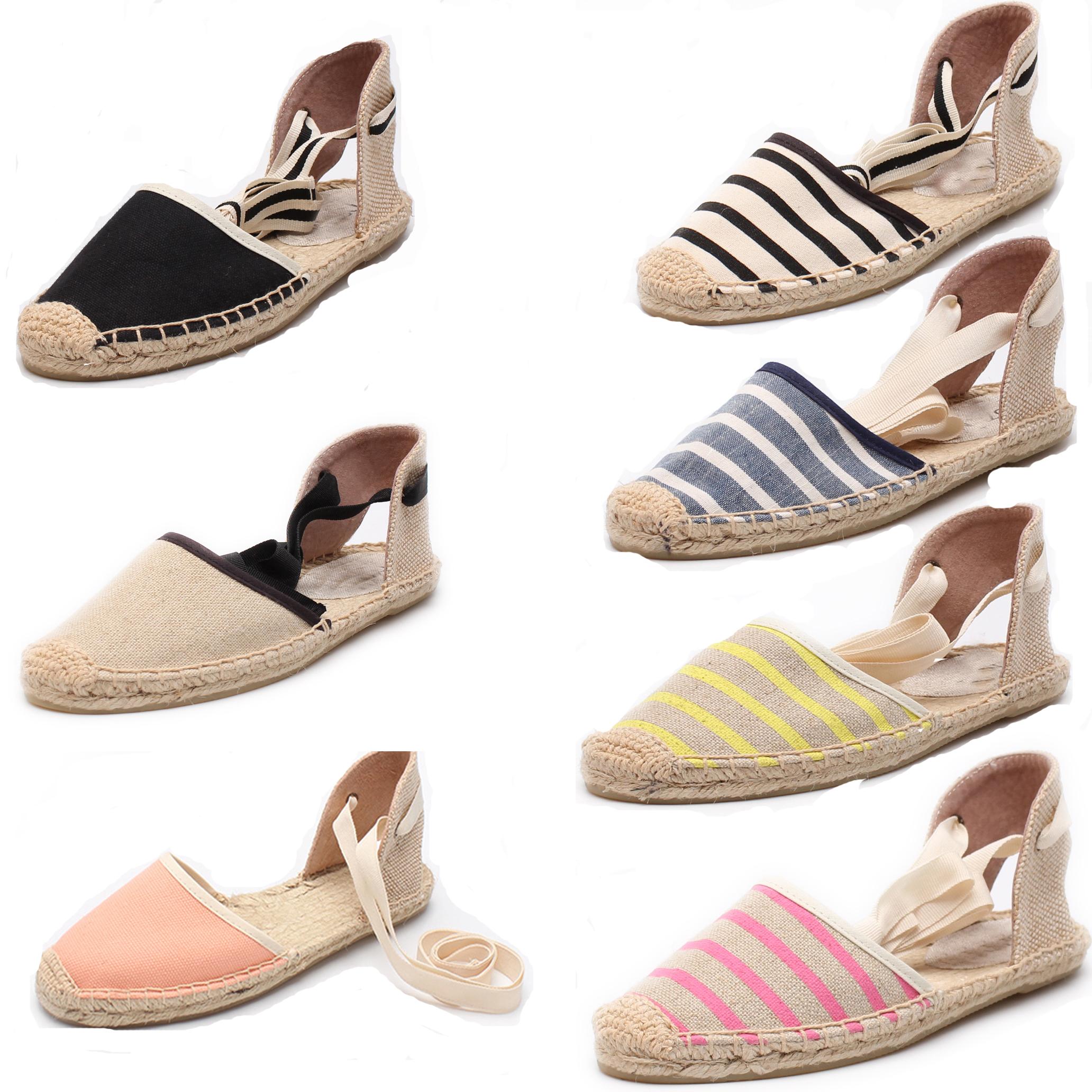 平底鞋 平底鞋凉鞋女夏麻底鞋脚踝绑带黑白条纹系带女单鞋帆布草编渔夫鞋_推荐淘宝好看的女平底鞋