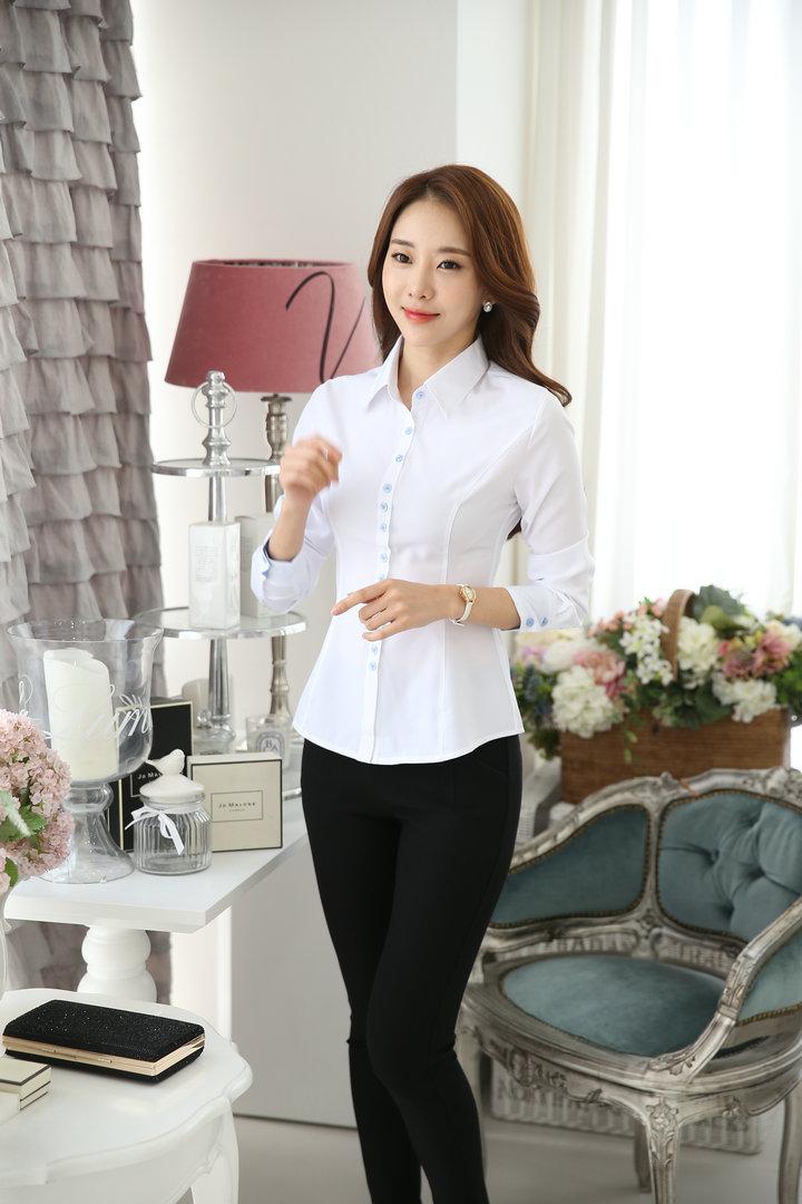 白色衬衫 白衬衫 女长袖职业防走光翻领修身显瘦工作服 打底衫大码女装衬衣_推荐淘宝好看的白色衬衫