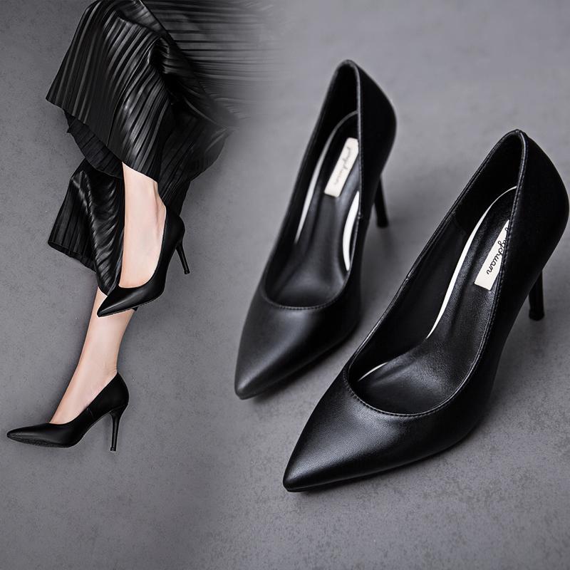 尖头鞋 礼仪黑色尖头高跟鞋女细跟真皮工作鞋羊皮浅口中跟优雅职业女单鞋_推荐淘宝好看的女尖头鞋