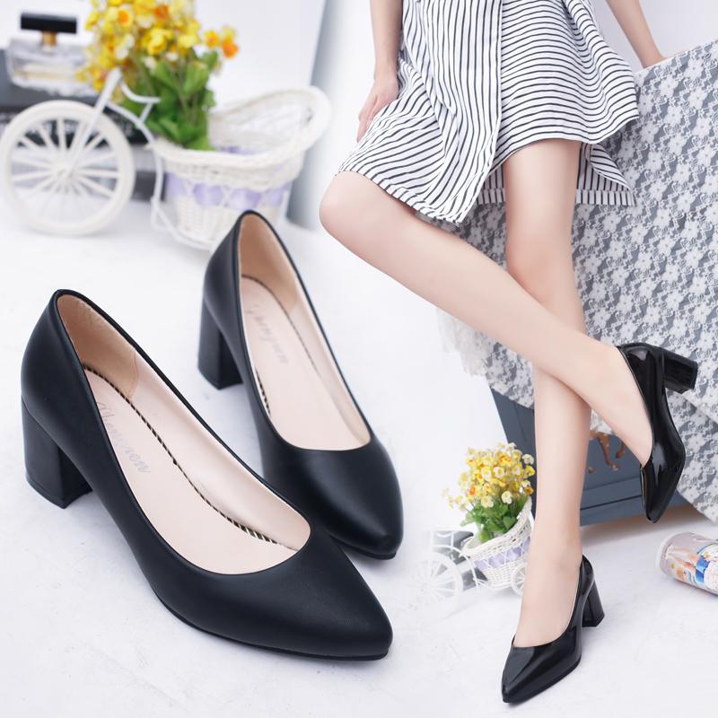 白色尖头鞋 新款春秋季白色小皮鞋女尖头高跟单鞋女粗跟大码工作鞋舒适女鞋子_推荐淘宝好看的白色尖头鞋