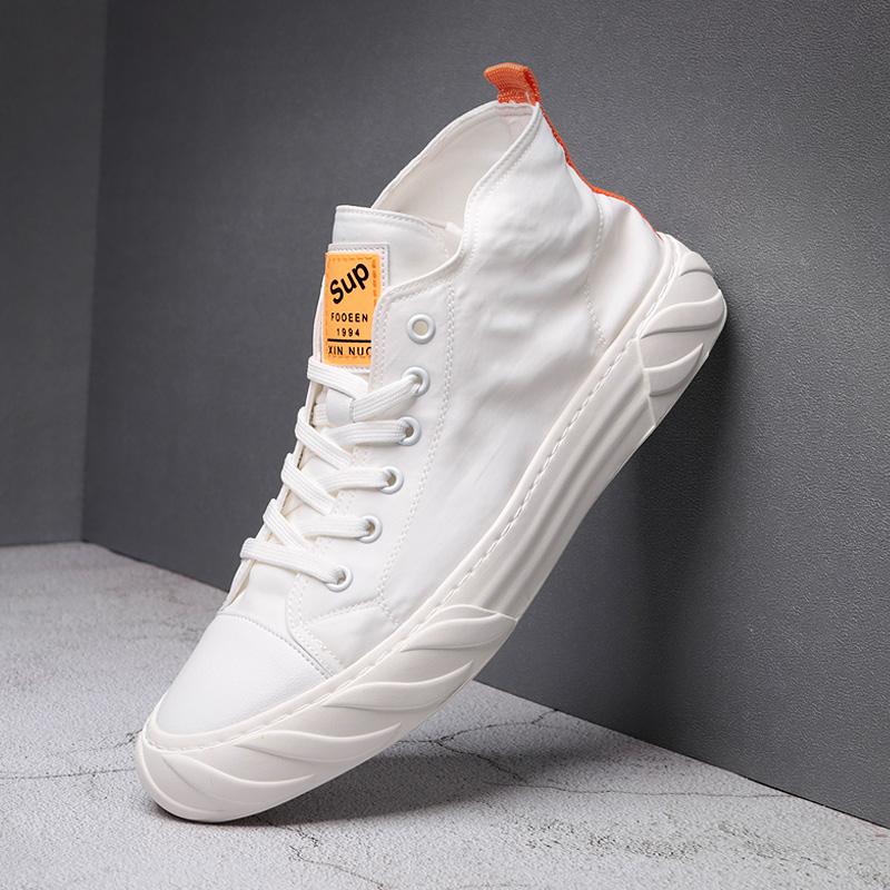 白色帆布鞋 白色帆布鞋高帮男夏季透气韩版韩版ulzzang潮学生潮流百搭板鞋子_推荐淘宝好看的白色帆布鞋