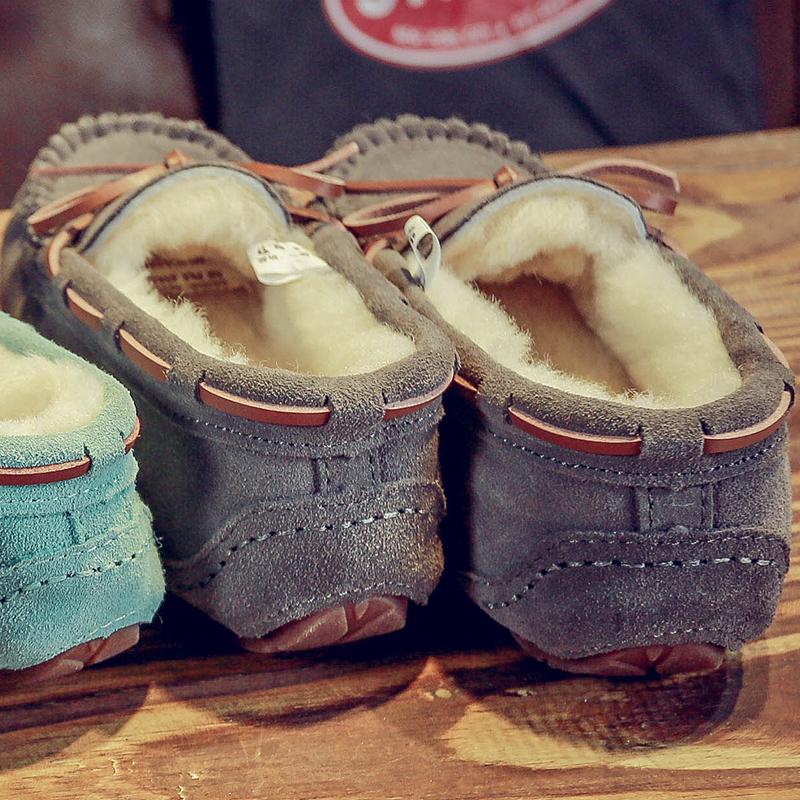 真皮豆豆鞋 羊皮毛一体豆豆鞋女真皮毛毛冬季加绒大码社会孕妇平底一脚蹬棉鞋_推荐淘宝好看的女真皮豆豆鞋