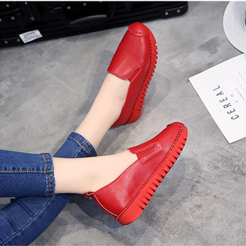 平底鞋 软底单鞋真皮女鞋平底舒适休闲镂空透气洞洞鞋懒人鞋红色女士皮鞋_推荐淘宝好看的女平底鞋