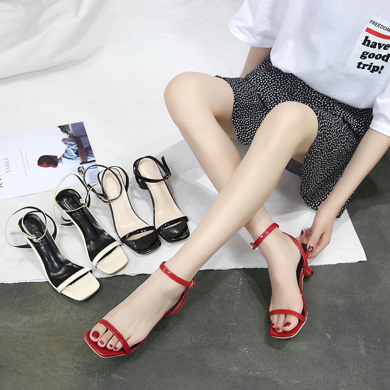 最新款高跟凉鞋 凉鞋2018新款女夏季韩版百搭一字扣带露趾酒杯跟高跟鞋气质罗马鞋_推荐淘宝好看的女新款高跟凉鞋
