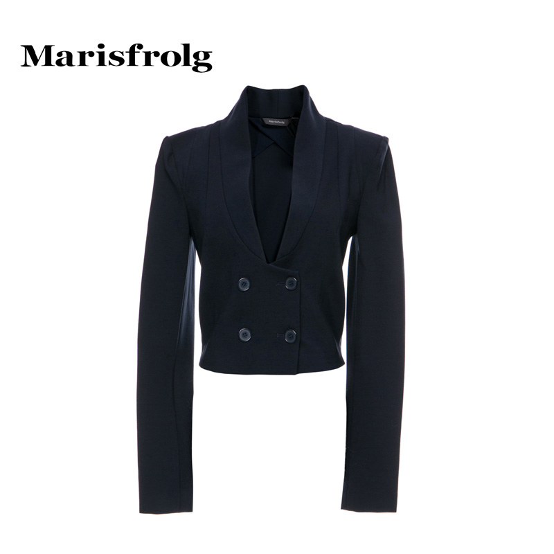 玛丝菲尔女装折扣店 Marisfrolg玛丝菲尔 简约优雅双排扣上衣外套 设计师款新女装_推荐淘宝好看的玛丝菲尔