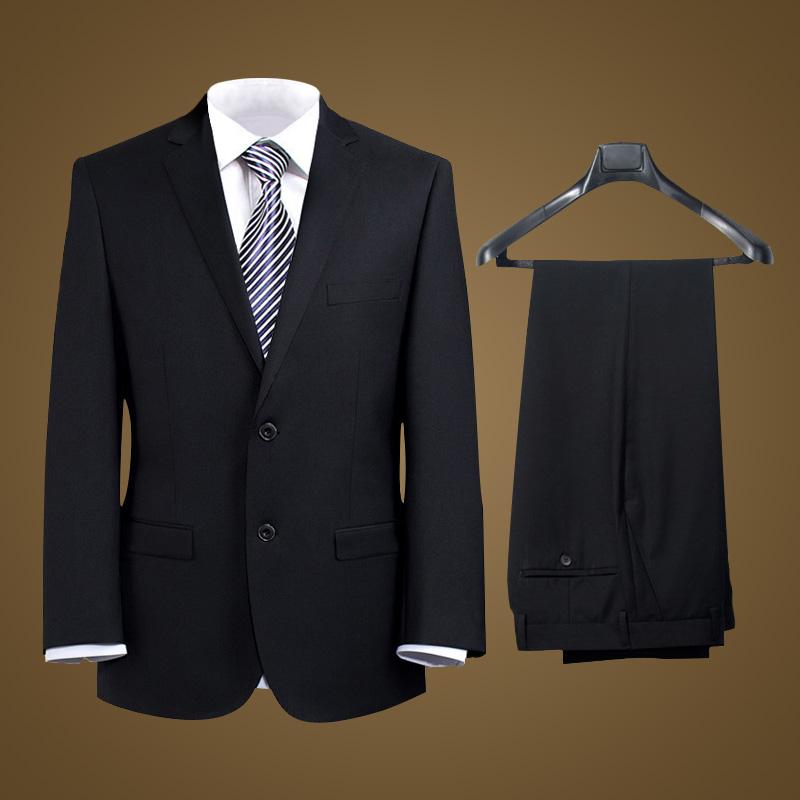 男士西装 男士正装西服套装职业装黑色藏蓝工作西装2扣婚礼商务套装西服_推荐淘宝好看的男西装