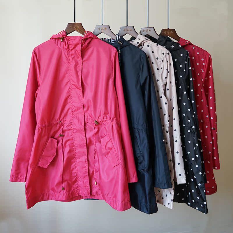 风衣外套 速干新款春夏季女士长袖中长款薄款风衣防晒防雨大码服装外套8008_推荐淘宝好看的女风衣外套