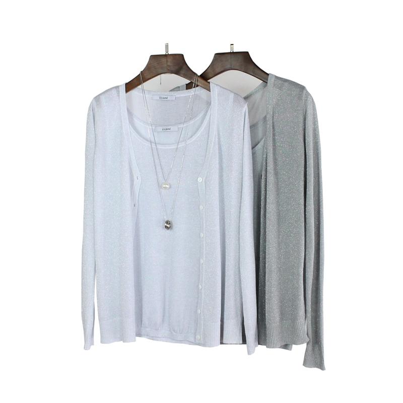 两件套针织衫 2017春夏女装新款纯色毛衣针织衫外套薄女开衫吊带背心两件套装女_推荐淘宝好看的女两件套针织衫