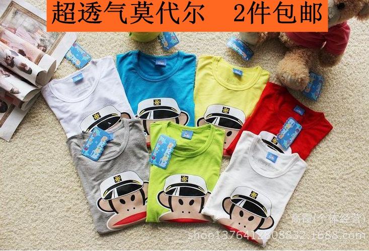 新款大嘴猴t恤 2016夏季新款儿童短袖T恤 男童女童韩版莫代尔海军大嘴猴汗衫_推荐淘宝好看的女新款大嘴猴t恤