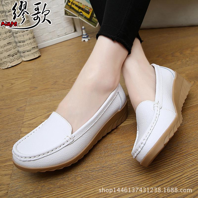 真皮坡跟鞋 白色护士鞋真皮坡跟大码女鞋休闲妈妈鞋防滑软底白色工作单鞋包邮_推荐淘宝好看的真皮坡跟鞋
