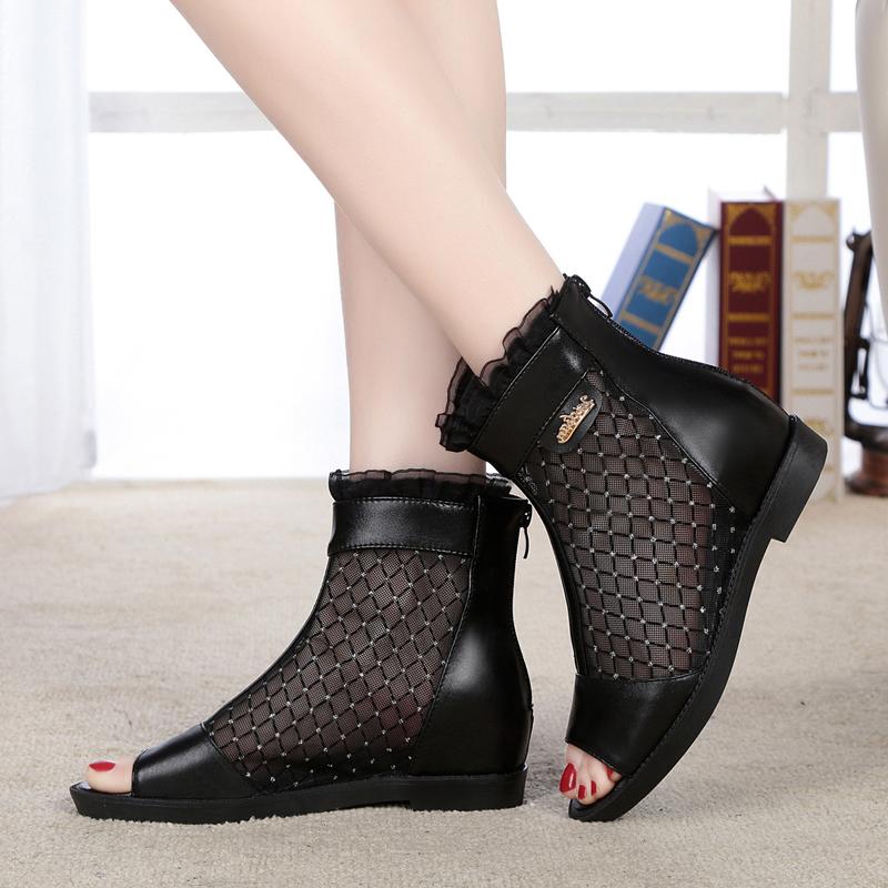女款鱼嘴鞋 夏季新款女网靴女凉鞋真皮凉鞋平底鱼嘴网鞋女凉靴大码平跟妈妈鞋_推荐淘宝好看的女鱼嘴鞋