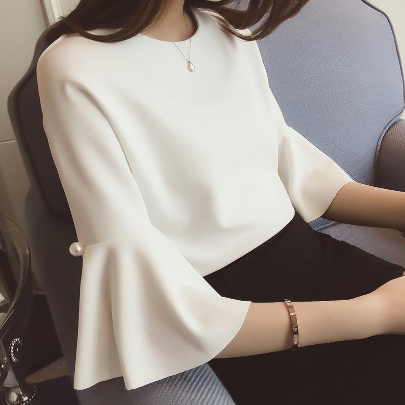 白色雪纺衫 2017夏装新款韩版女装T恤名媛范 纯色短款喇叭中袖雪纺衫上衣女_推荐淘宝好看的白色雪纺衫
