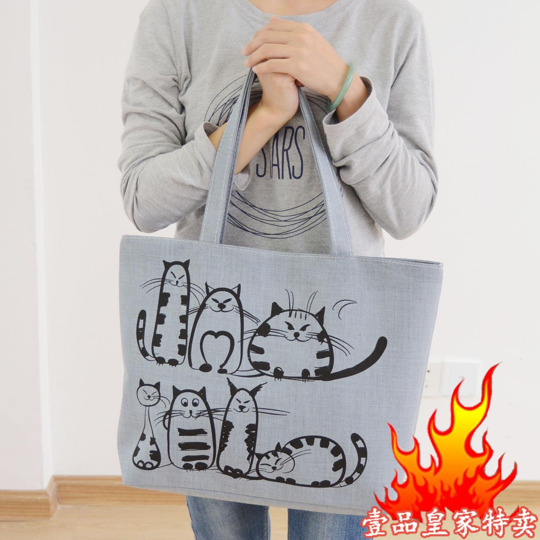 白色手提包 帆布大包包 韩版休闲单肩女包大容量布包学生手提书袋妈咪购物袋_推荐淘宝好看的白色手提包