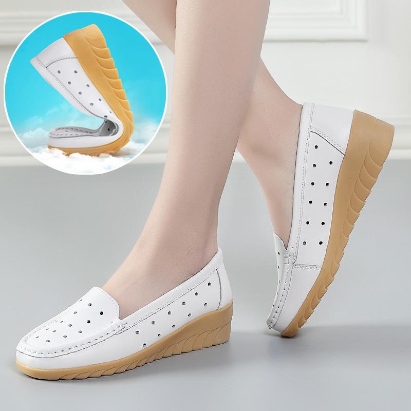 女士坡跟鞋 护士鞋白色春夏季中坡跟小白鞋妈妈鞋工作单鞋女真皮软底镂空透气_推荐淘宝好看的女坡跟鞋