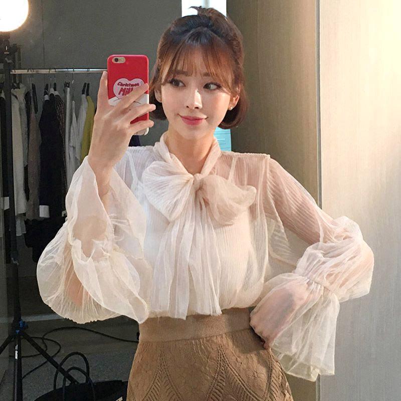 白色雪纺衬衫 18韩国东大门春装新款宽松雪纺透视衬衫女绑带喇叭袖时尚显瘦上衣_推荐淘宝好看的女白色雪纺衬衫