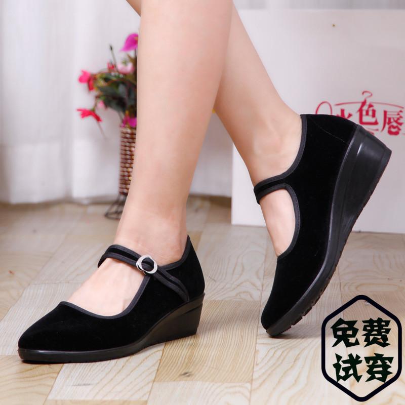 黑色坡跟鞋 正品老北京布鞋女鞋单鞋广场跳舞鞋黑色平绒坡跟鞋酒店职业工作鞋_推荐淘宝好看的黑色坡跟鞋