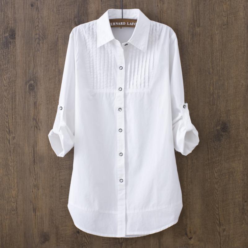 白色衬衫 春季韩版中长款全棉长袖打底白衬衫女 显瘦休闲修身打底男朋友风_推荐淘宝好看的白色衬衫