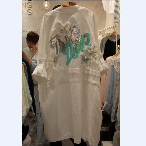 风衣外套 2018韩国东大门春季女装新款亮片五角星图案抽绳休闲外套风衣_推荐淘宝好看的女风衣外套