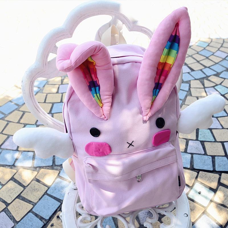 帆布双肩糖果包 天使翅膀兔兔兔糖果色粉红色星座双肩帆布包_推荐淘宝好看的帆布双肩糖果包