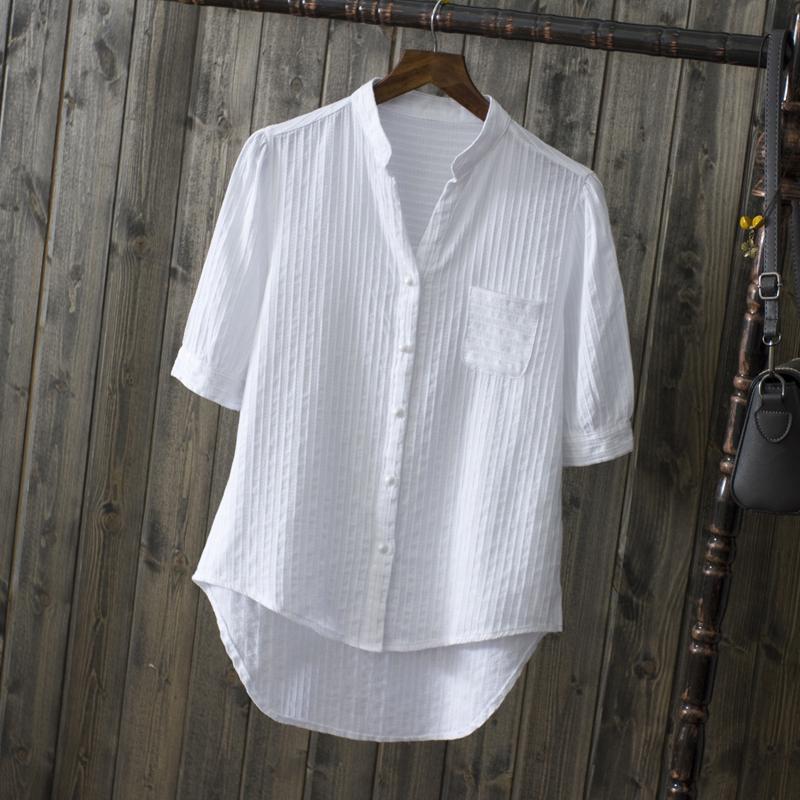 衬衫 夏装纯棉白衬衫短袖女式休闲衬衣新款清新纯色防晒V领中袖上衣_推荐淘宝好看的女衬衫