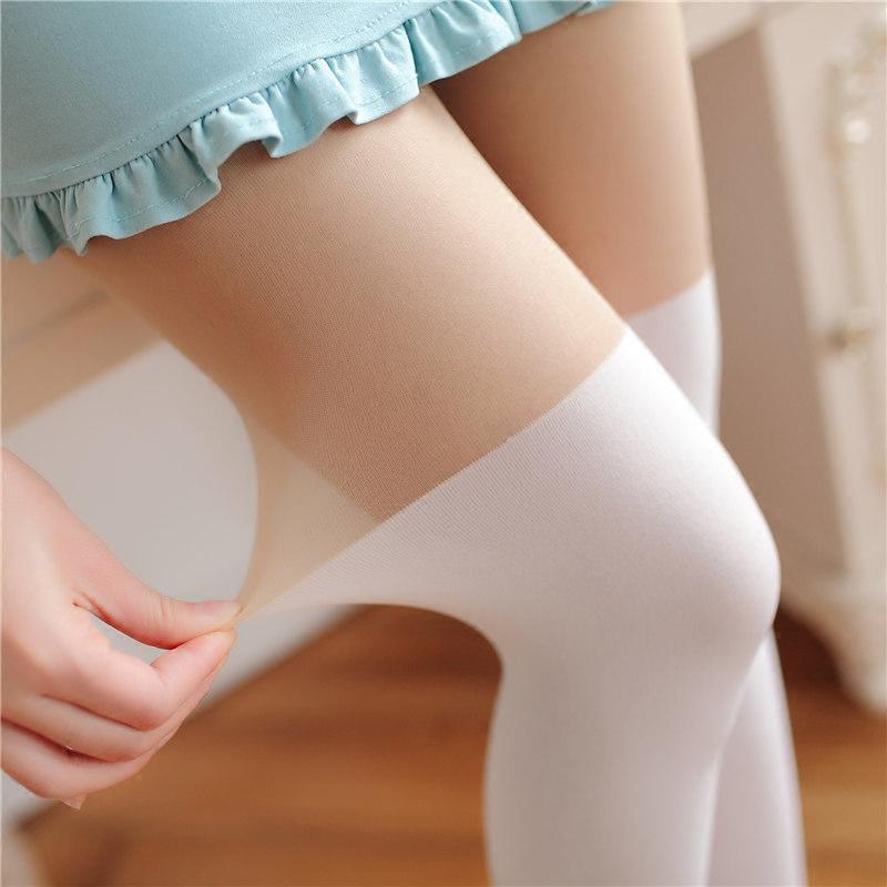 丝袜 夏季薄款日系个性感假高筒过膝拼接长筒白色打底丝袜连裤袜子显瘦_推荐淘宝好看的丝袜