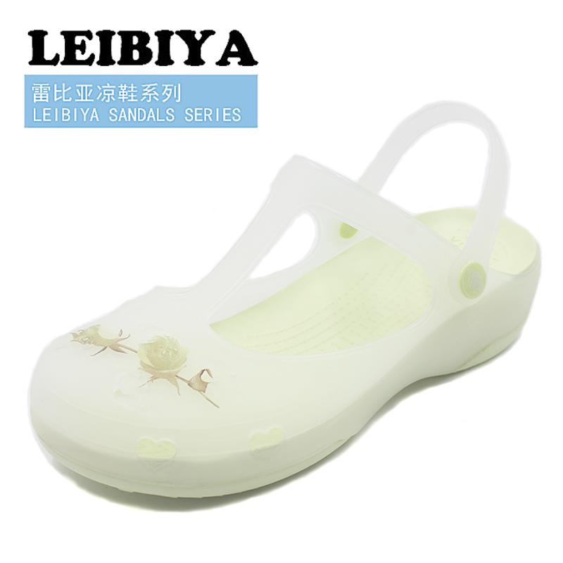 洞洞鞋 雷比亚夏季新品蔷薇印花玛丽珍洞洞鞋女果冻鞋休闲凉鞋沙滩鞋_推荐淘宝好看的女洞洞鞋
