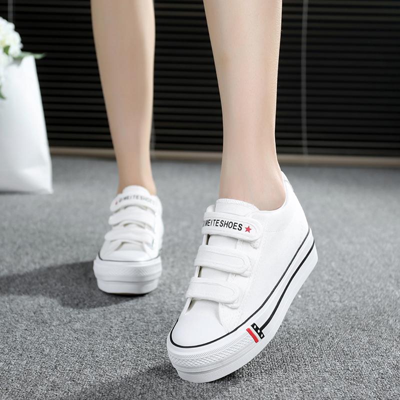 白色帆布鞋 2018春夏魔术贴帆布鞋女内增高布鞋厚底韩版潮松糕鞋白色学生板鞋_推荐淘宝好看的白色帆布鞋