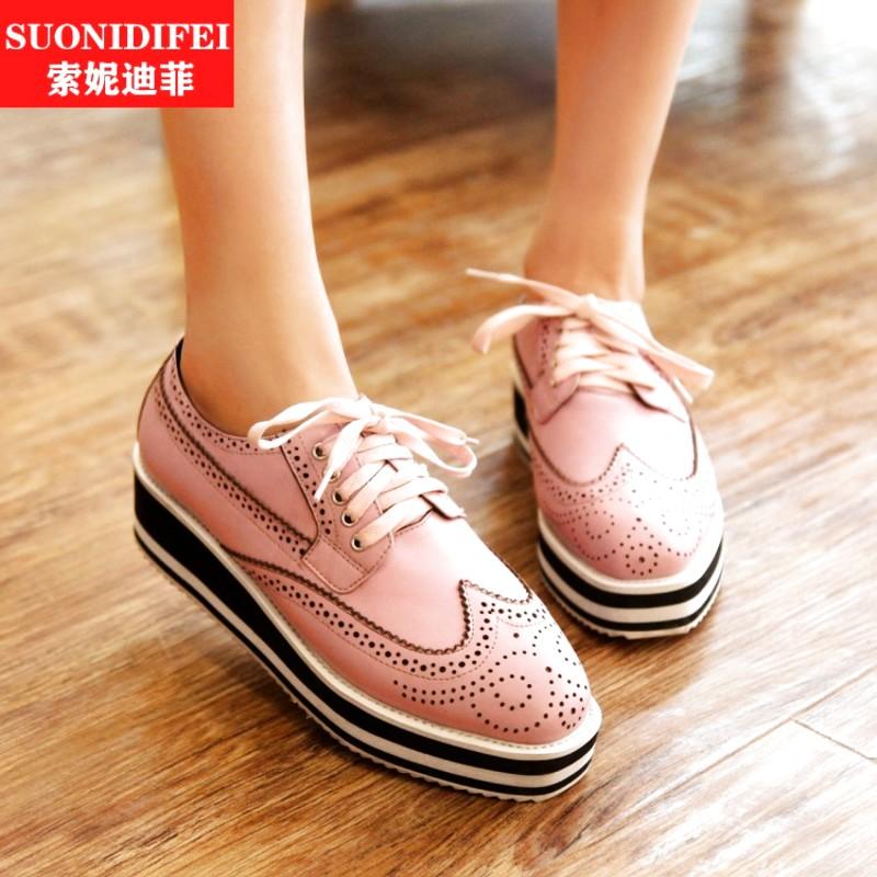 粉红色松糕鞋 黑色白色深口粉红色街头中跟鞋修面皮欧洲站松糕跟单鞋女鞋_推荐淘宝好看的粉红色松糕鞋