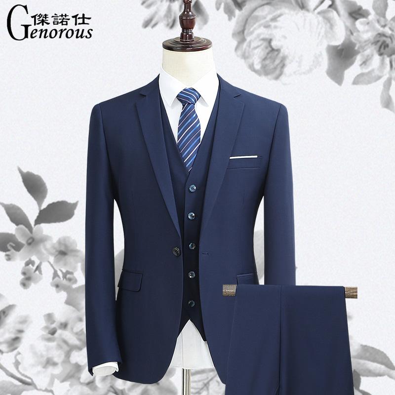 男士结婚西装 西服套装男三件套修身蓝色西装男商务正装职业装新郎伴郎结婚礼服_推荐淘宝好看的男结婚西装