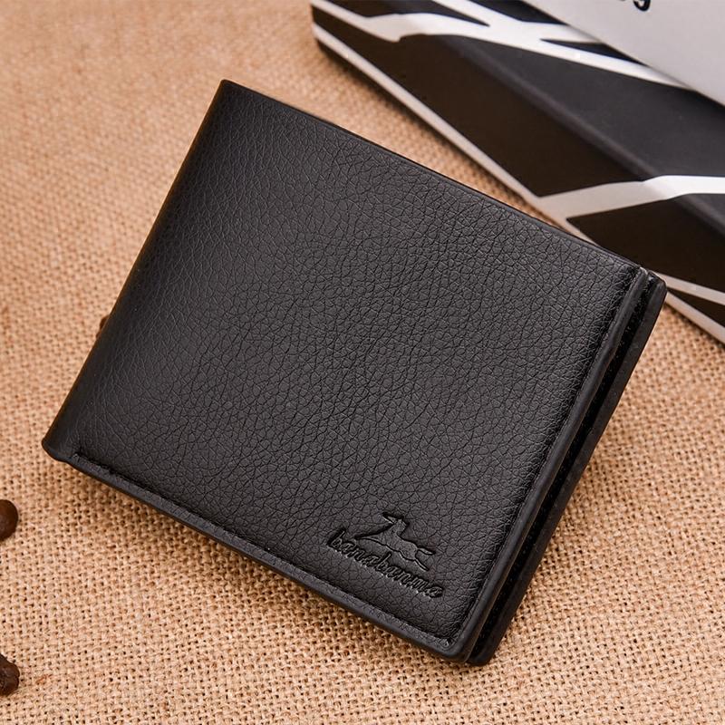 黑色钱包 横款折叠潮人钱包男士少年迷你短款青年超薄个性时尚男款学生软皮_推荐淘宝好看的黑色钱包