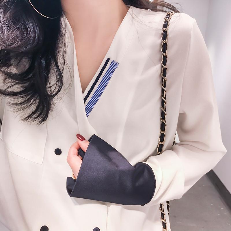 白色雪纺衬衫 CICI 2017春夏新款女装 气质款袖子拼接双排扣V领雪纺衬衫上衣_推荐淘宝好看的女白色雪纺衬衫