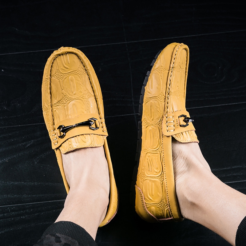 黄色豆豆鞋 GGNBNB春秋季小黄鞋男士休闲皮鞋真皮豆豆鞋男鞋一脚蹬黄色驾车鞋_推荐淘宝好看的黄色豆豆鞋
